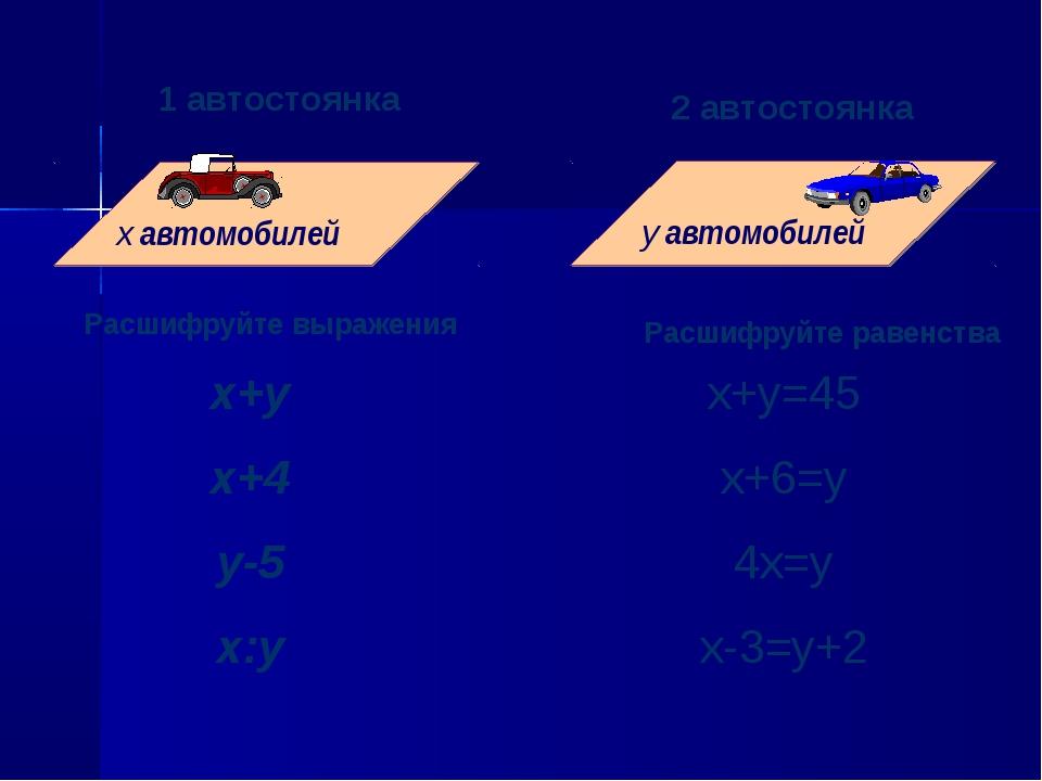 1 автостоянка 1 автостоянка 2 автостоянка Расшифруйте выражения Расшифруйте р...