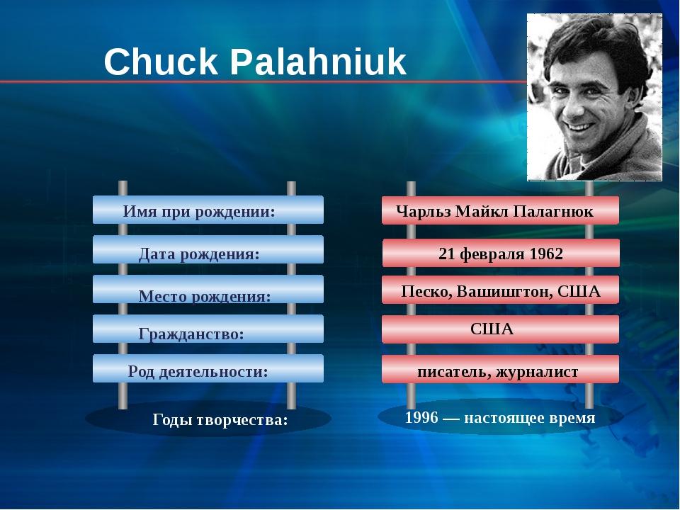 Годы творчества: 1996— настоящее время Chuck Palahniuk Имя при рождении: Дат...