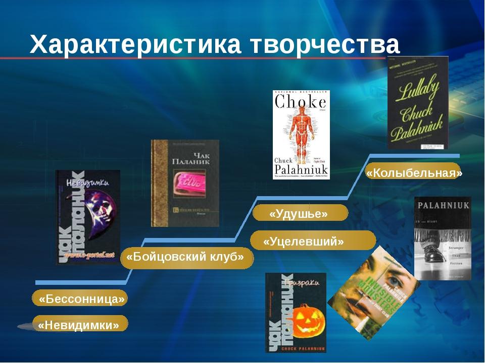 Характеристика творчества «Бессонница» «Бойцовский клуб» «Удушье» «Колыбельн...
