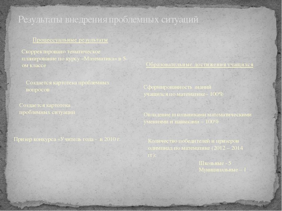 Результаты внедрения проблемных ситуаций Призер конкурса «Учитель года - в 20...