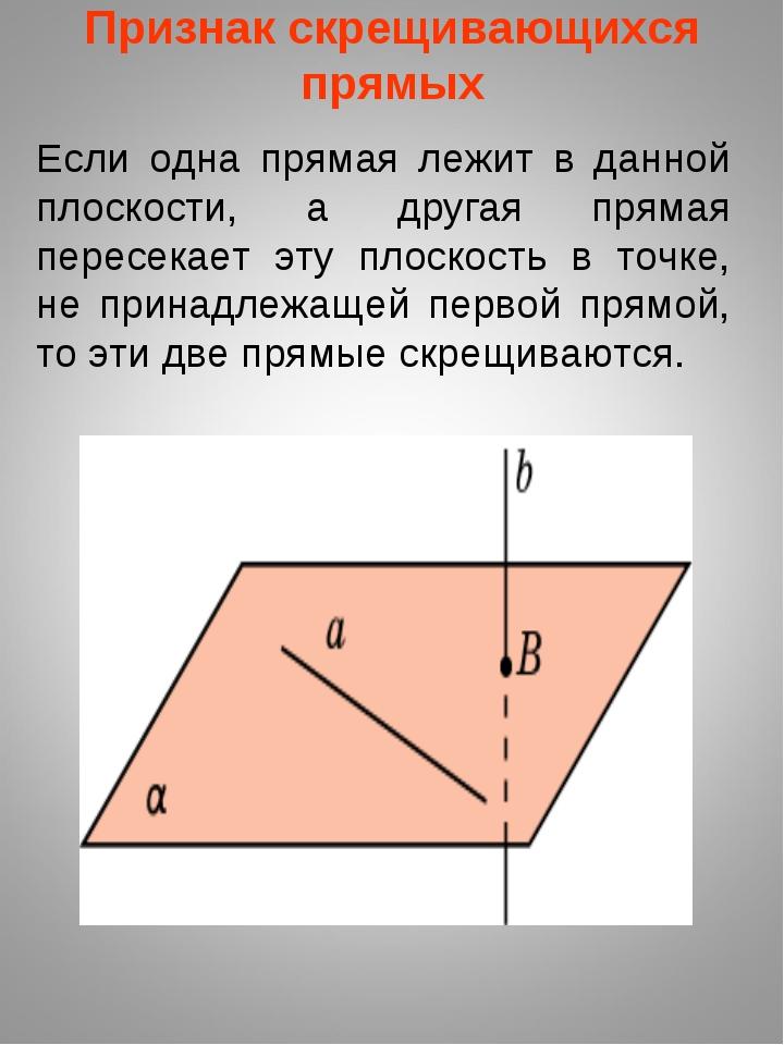 Если одна прямая лежит в данной плоскости, а другая прямая пересекает эту пло...