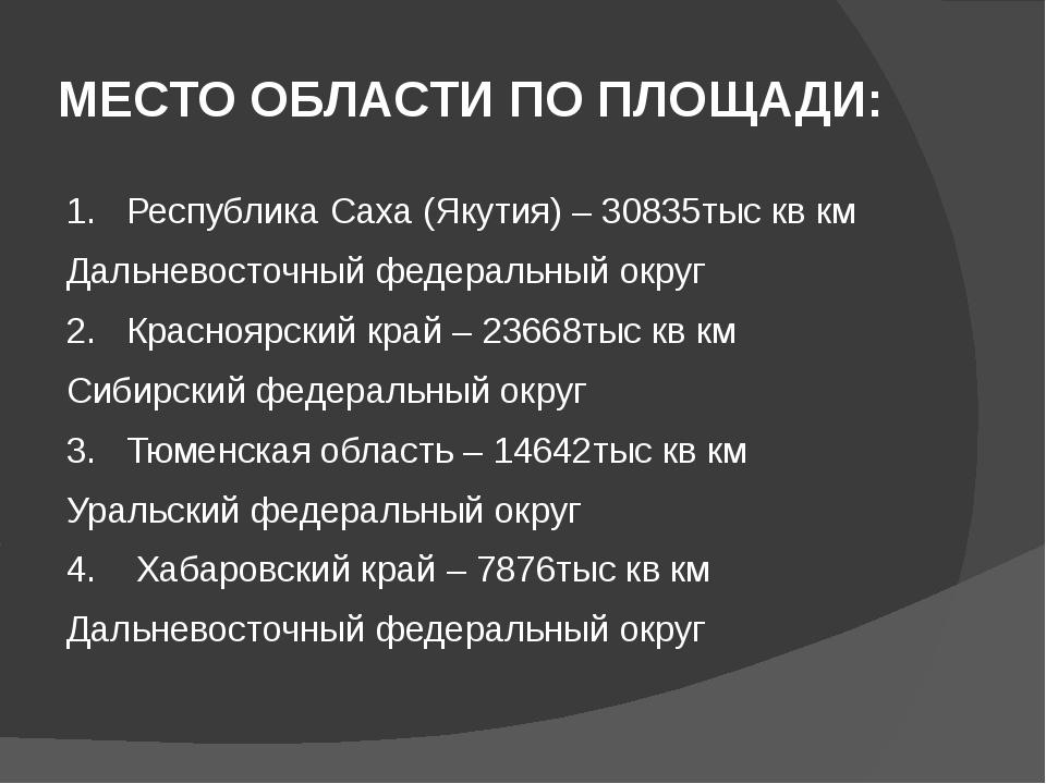 МЕСТО ОБЛАСТИ ПО ПЛОЩАДИ: 1. Республика Саха (Якутия) – 30835тыс кв км Дальне...