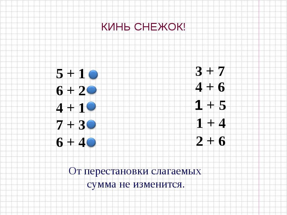 КИНЬ СНЕЖОК! 5 + 1 6 + 2 4 + 1 7 + 3 6 + 4 3 + 7 4 + 6 1 + 5 1 + 4 2 + 6 От п...