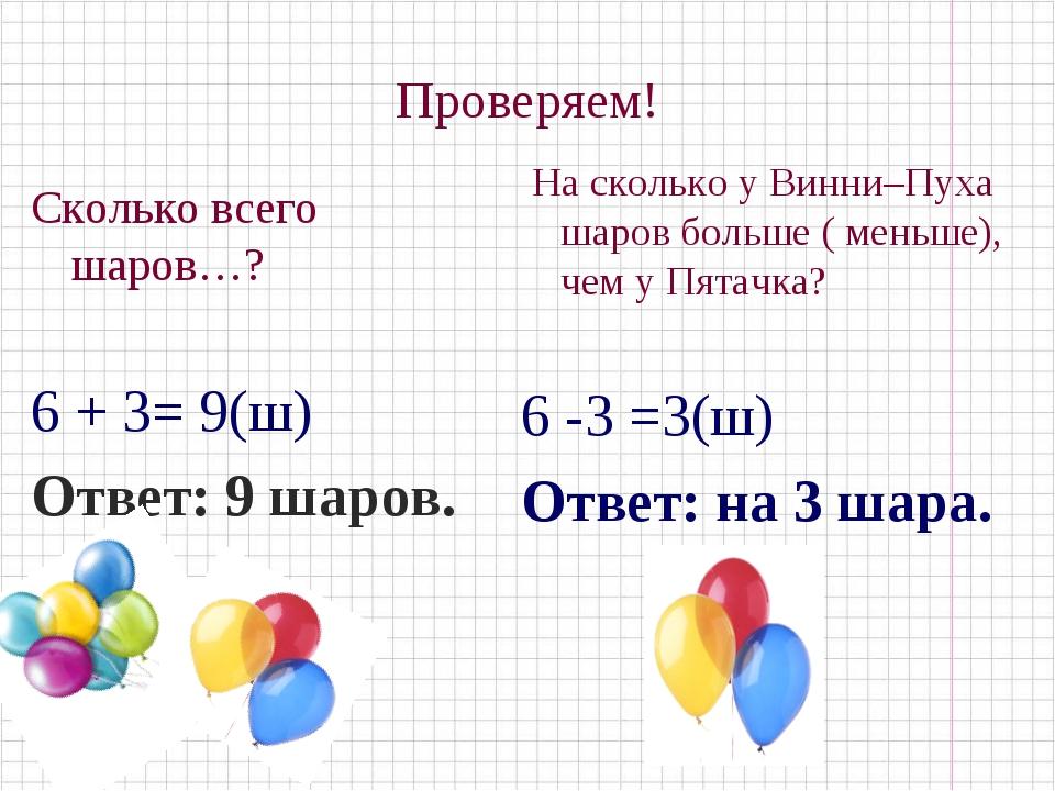 Проверяем! Сколько всего шаров…? 6 + 3= 9(ш) Ответ: 9 шаров. На сколько у Вин...