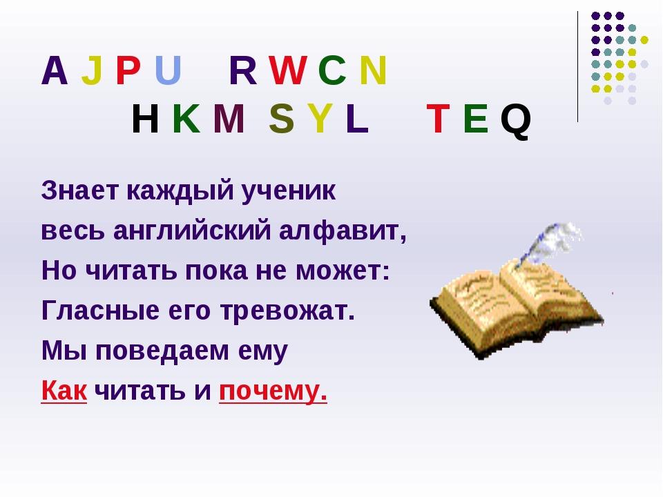 A J P U R W C N H K M S Y L T E Q Знает каждый ученик весь английский алфавит...