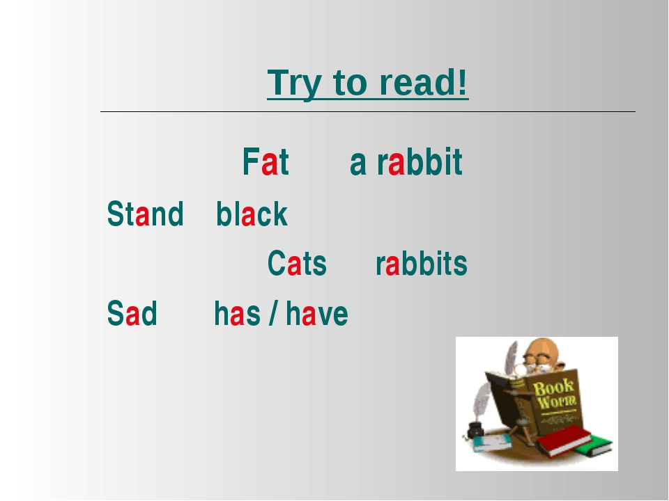 Try to read! Fat a rabbit Stand black Cats rabbits Sad has / have