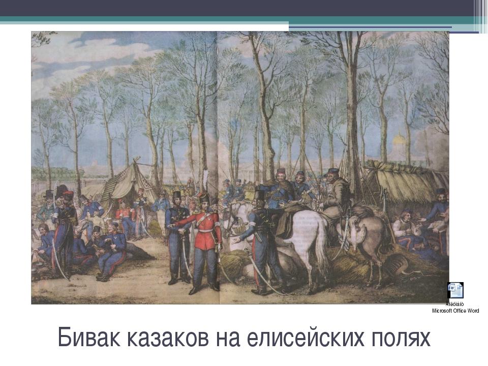 Бивак казаков на елисейских полях