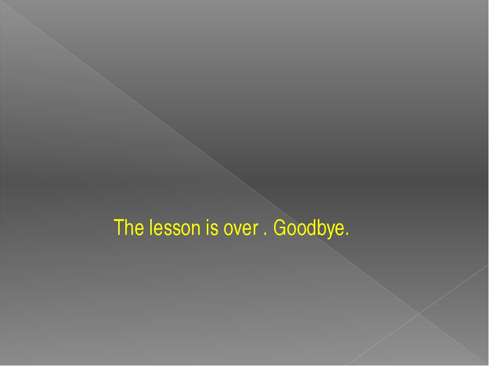 The lesson is over . Goodbye.