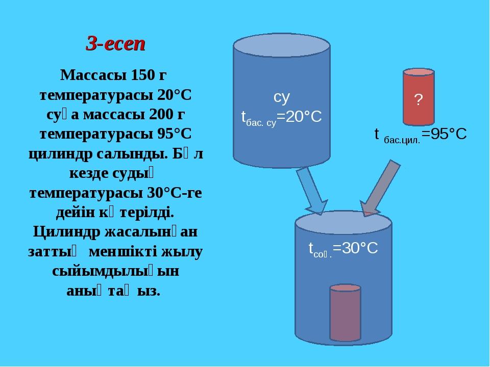 3-есеп Массасы 150 г температурасы 20°С суға массасы 200 г температурасы 95°С...