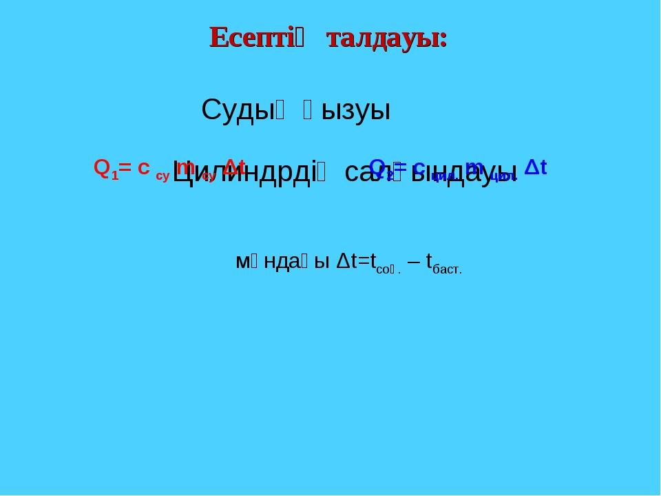 Есептің талдауы: Судың қызуы Цилиндрдің салқындауы Q1= c су m су Δt Q2= c цил...