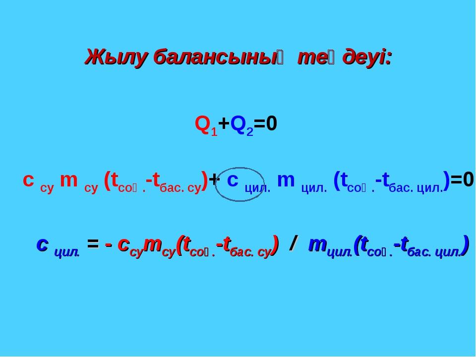 Жылу балансының теңдеуі: Q1+Q2=0 c су m су (tсоң.-tбас. су)+ c цил. m цил. (t...