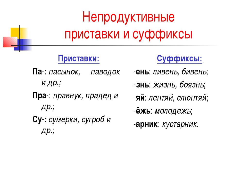 Непродуктивные приставки и суффиксы Приставки: Па-: пасынок, паводок и др.; П...