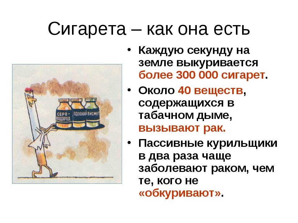 Сигарета – как она есть Каждую секунду на земле выкуривается более 300 000 си...