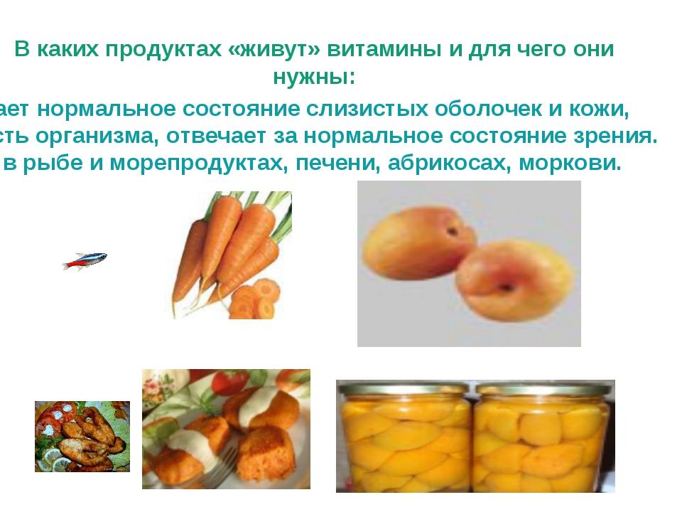 В каких продуктах «живут» витамины и для чего они нужны: Витамин А – обеспечи...