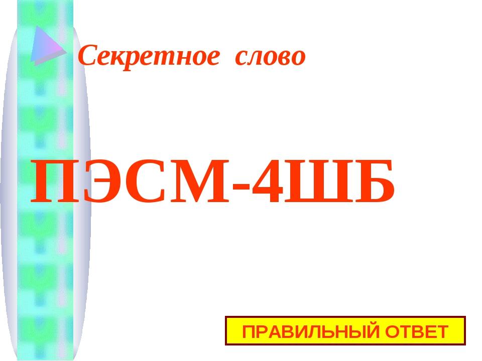 Секретное слово ПРАВИЛЬНЫЙ ОТВЕТ ПЭСМ-4ШБ