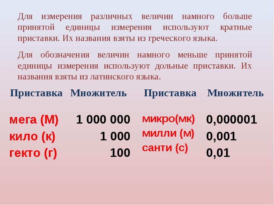 Для измерения различных величин намного больше принятой единицы измерения ис...