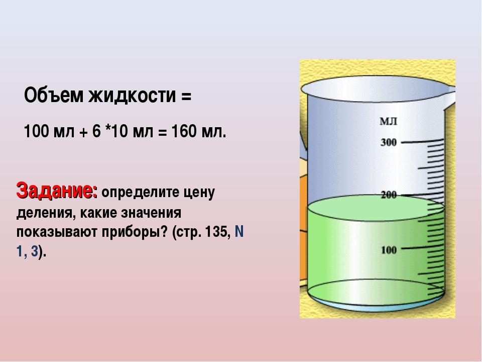 Объем жидкости = 100 мл + 6 *10 мл = 160 мл. Задание: определите цену деления...