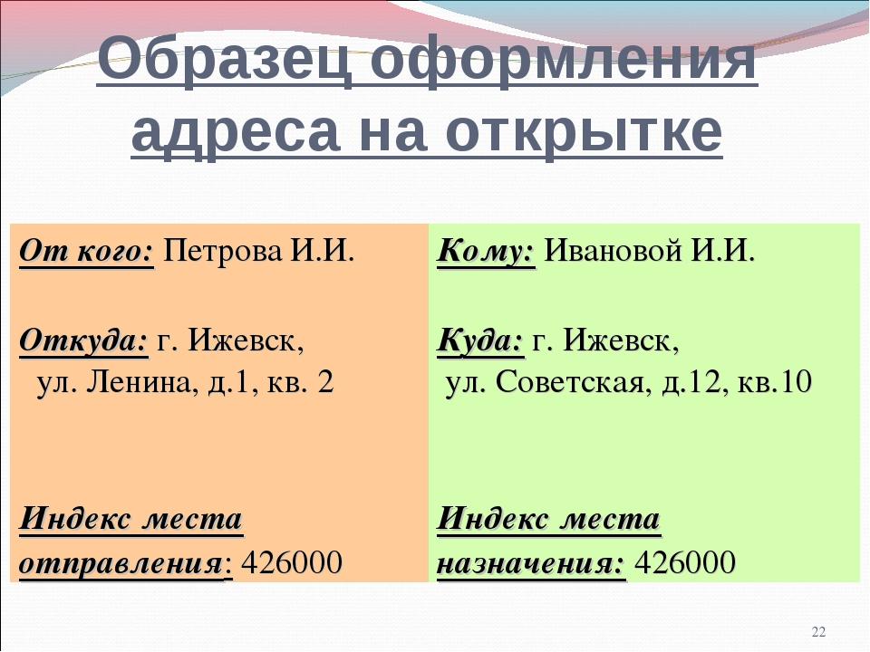 * Образец оформления адреса на открытке От кого: Петрова И.И.Кому: Ивановой...