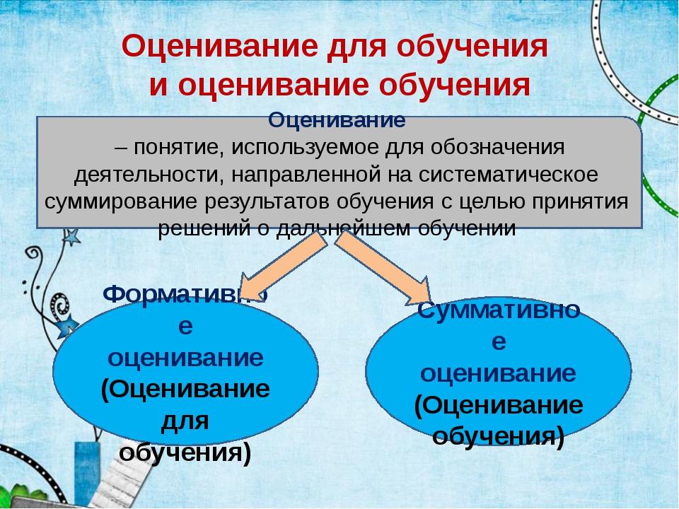 Оценивание для обучения и оценивание обучения Оценивание – понятие, используе...