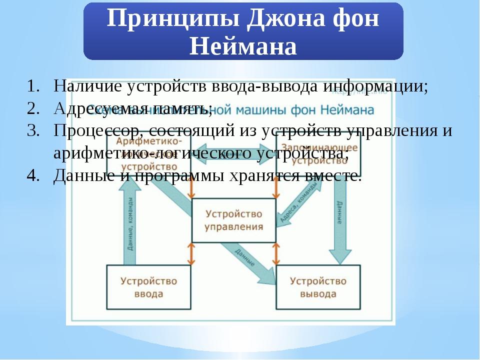Наличие устройств ввода-вывода информации; Адресуемая память; Процессор, сост...