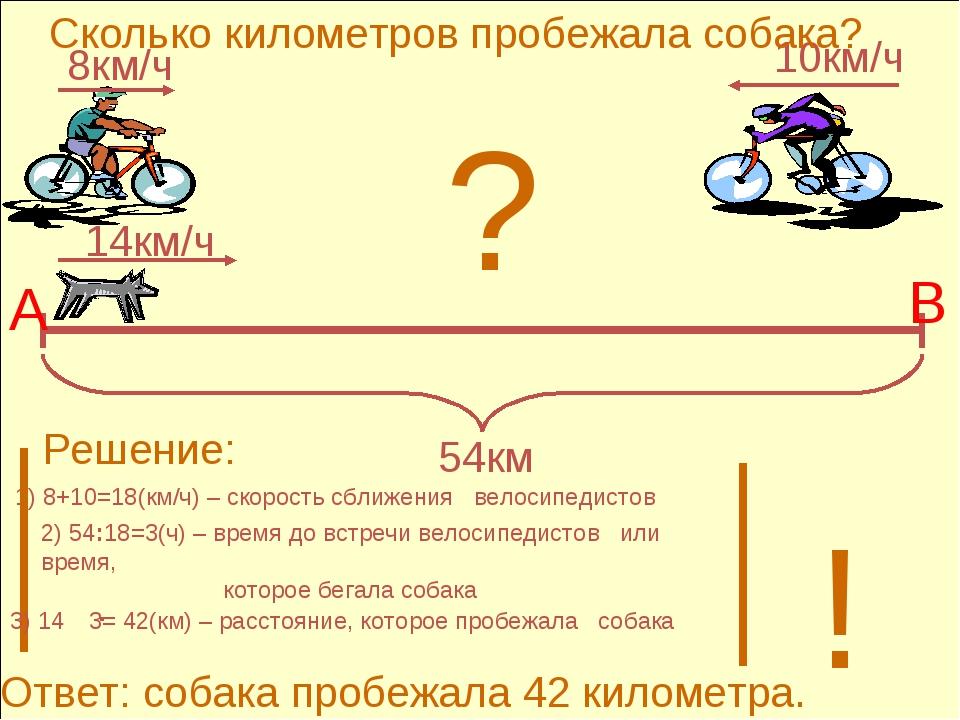 2) 54:18=3(ч) – время до встречи велосипедистов или время, которое бегала соб...