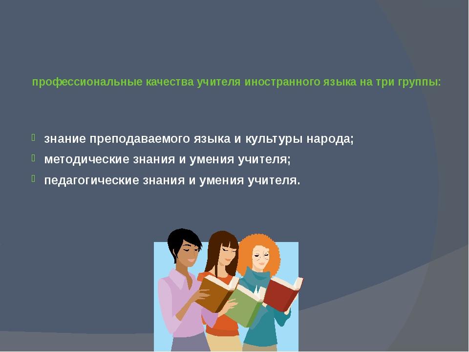 профессиональные качества учителя иностранного языка на три группы: знание пр...