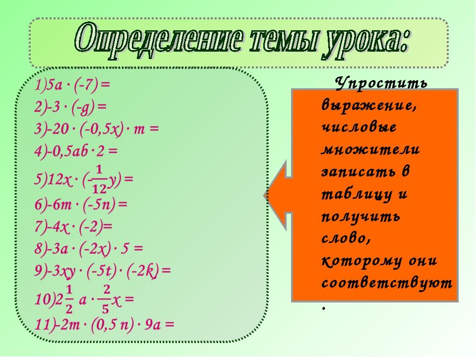 Упростить выражение, числовые множители записать в таблицу и получить слово,...
