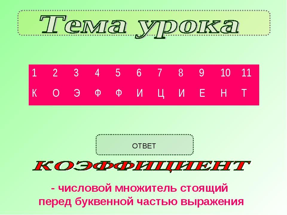 ОТВЕТ - числовой множитель стоящий перед буквенной частью выражения 12345...