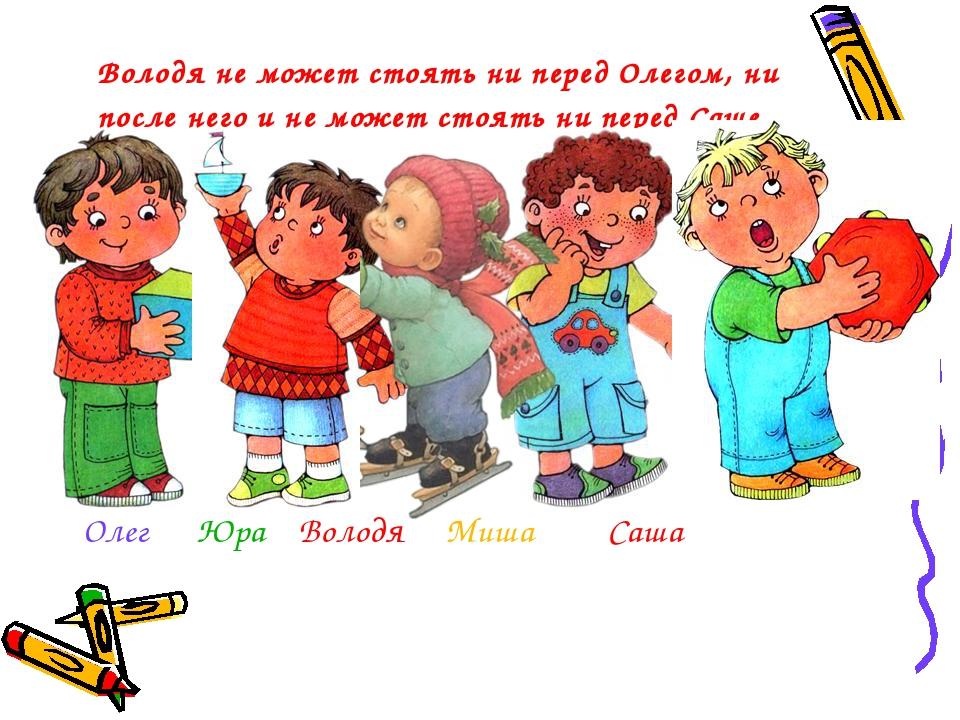 Володя не может стоять ни перед Олегом, ни после него и не может стоять ни п...