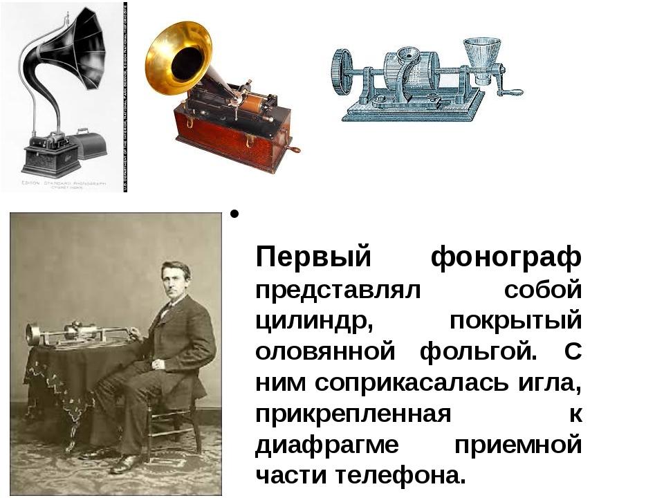 Первый фонограф представлял собой цилиндр, покрытый оловянной фольгой. С ним...