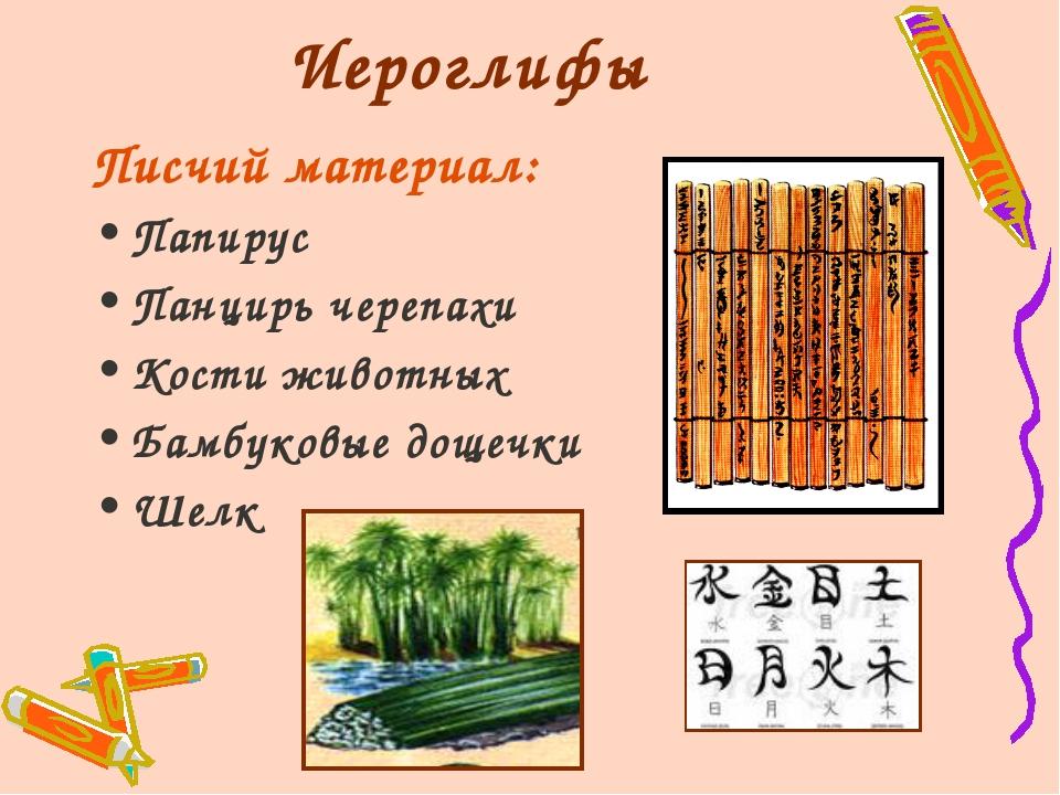 Иероглифы Писчий материал: Папирус Панцирь черепахи Кости животных Бамбуковые...