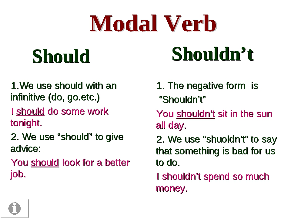 Should 1.We use should with an infinitive (do, go.etc.) I should do some work...