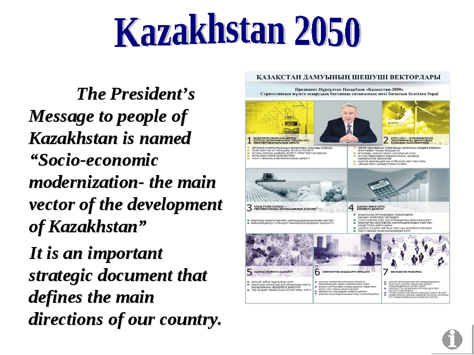 "The President's Message to people of Kazakhstan is named ""Socio-economic mod..."