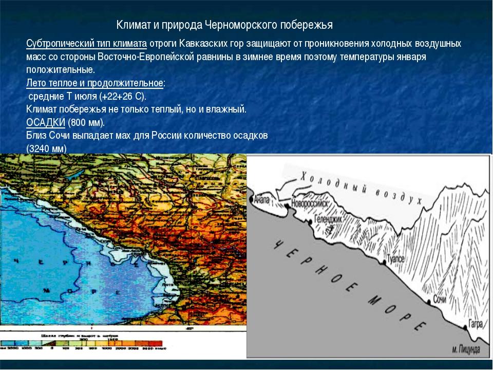 Субтропический тип климата отроги Кавказских гор защищают от проникновения хо...