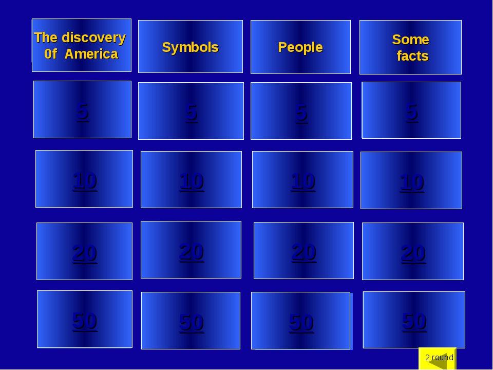 5 10 20 50 5 10 20 50 5 10 20 50 5 10 20 50 The discovery 0f America Symbols...