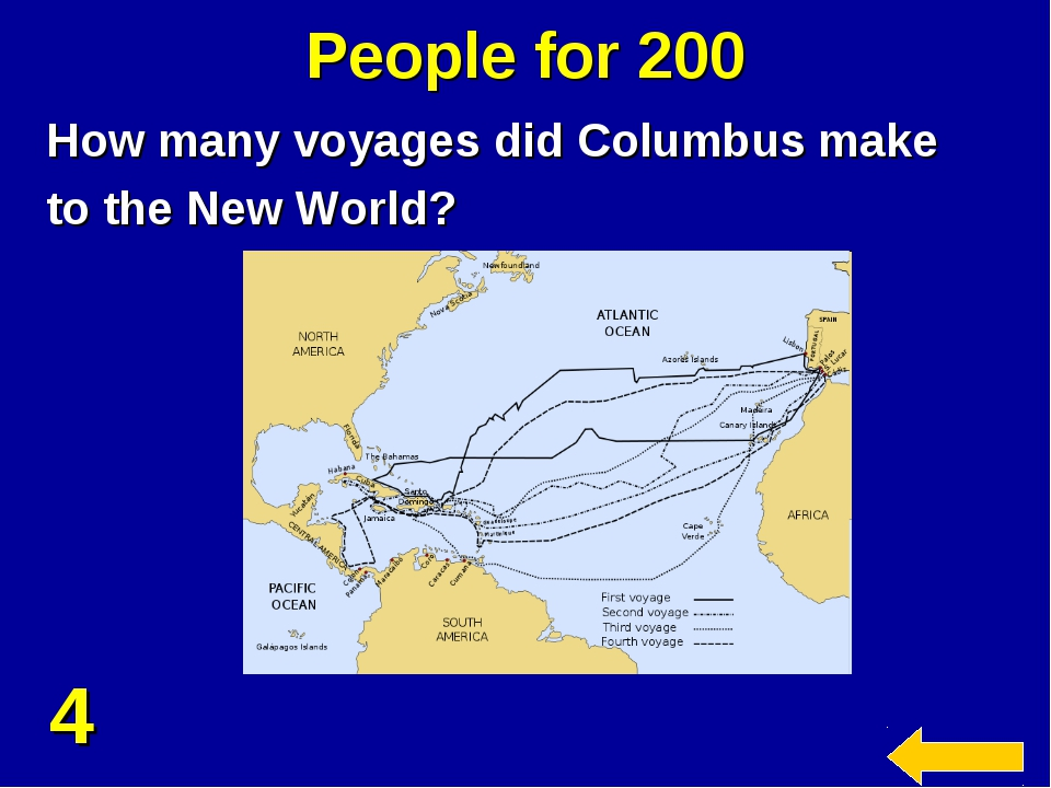 People for 200 How many voyages did Columbus make to the New World? 4