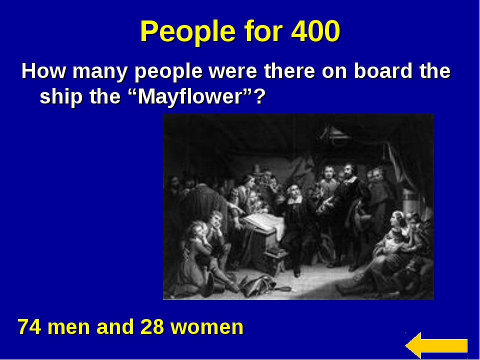 """People for 400 How many people were there on board the ship the """"Mayflower""""?..."""