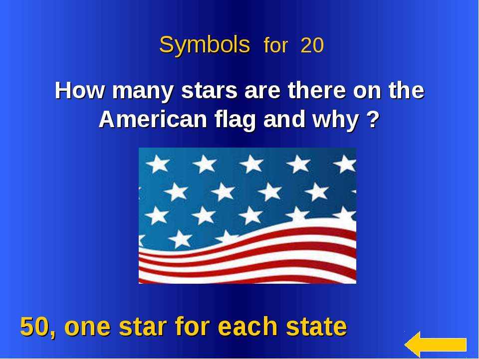 50, one star for each state Symbols for 20 How many stars are there on the A...