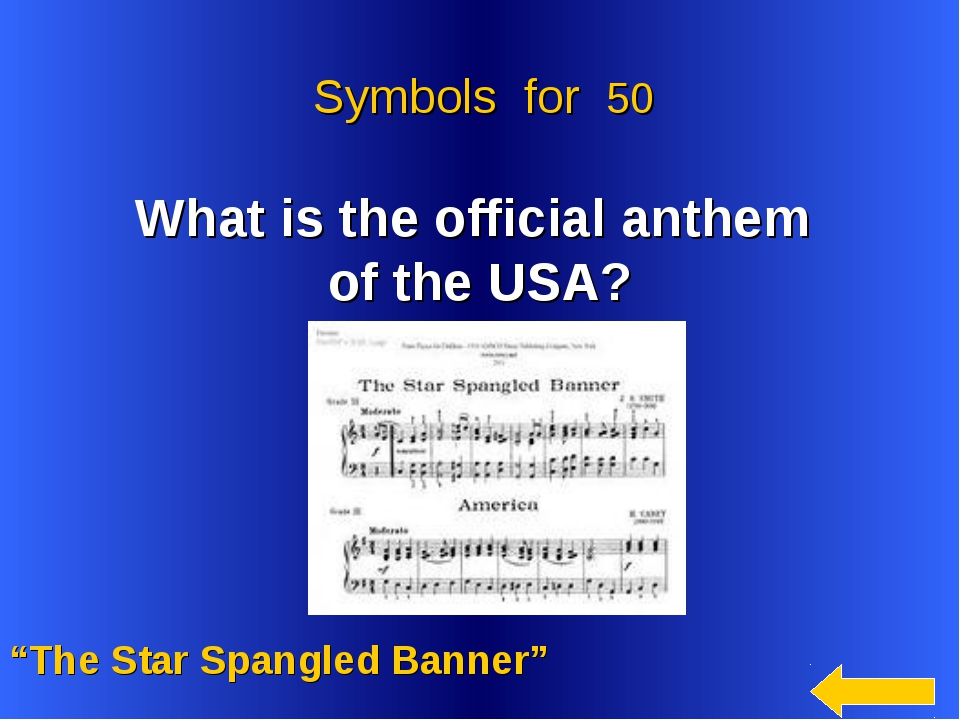 """What is the official anthem of the USA? """"The Star Spangled Banner"""" Symbols f..."""