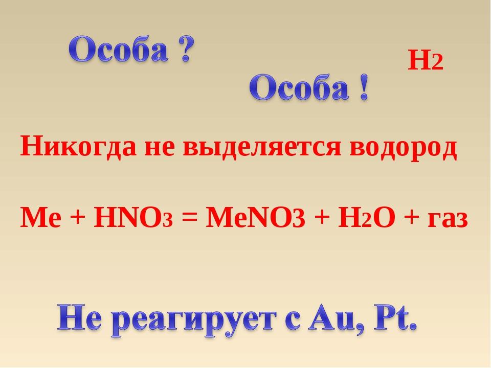 H2 Никогда не выделяется водород Me + HNO3 = MeNO3 + H2O + газ