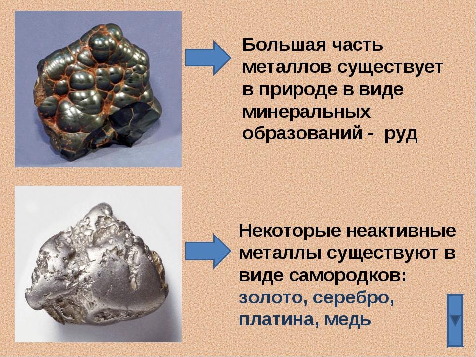 Большая часть металлов существует в природе в виде минеральных образований -...