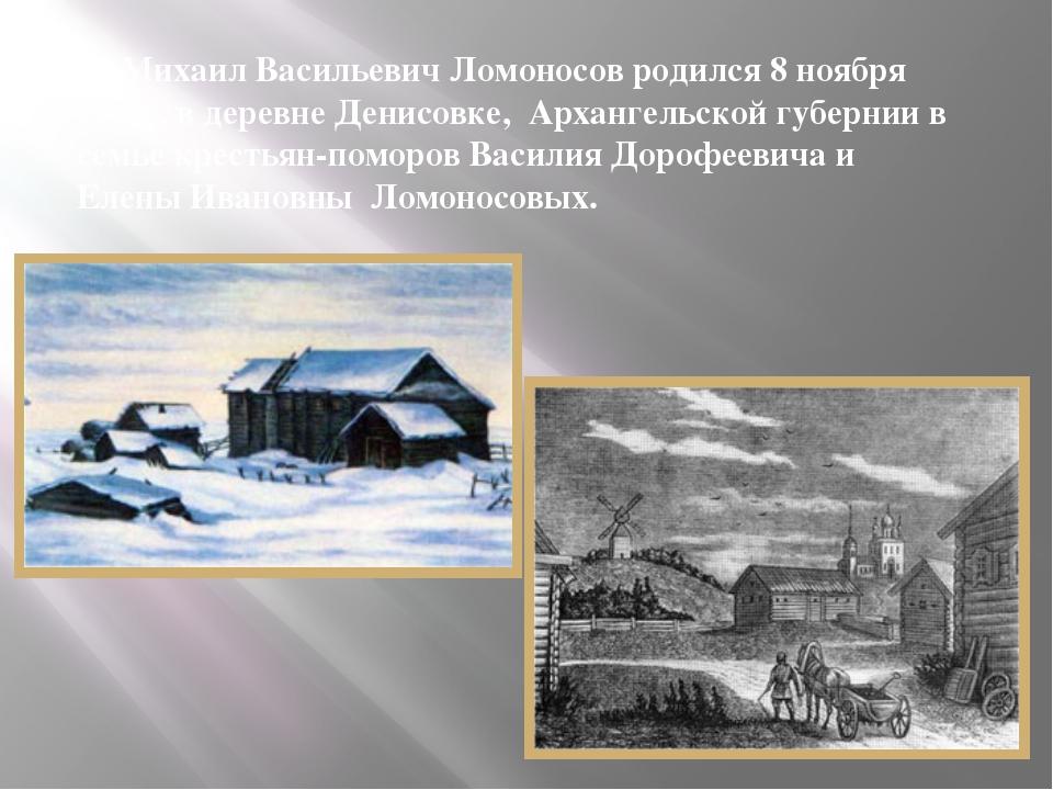 Михаил Васильевич Ломоносов родился 8 ноября 1711г. в деревне Денисовке, Арх...