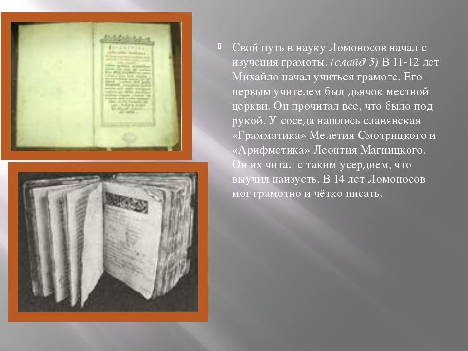 Свой путь в науку Ломоносов начал с изучения грамоты. (слайд 5) В 11-12 лет М...