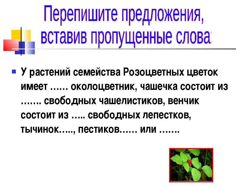 У растений семейства Розоцветных цветок имеет …… околоцветник, чашечка состои...