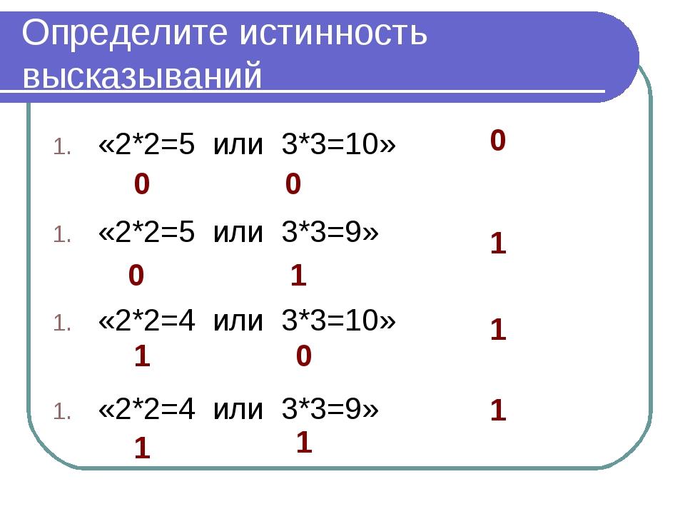 Определите истинность высказываний «2*2=5 или 3*3=10» «2*2=5 или 3*3=9» «2*2=...