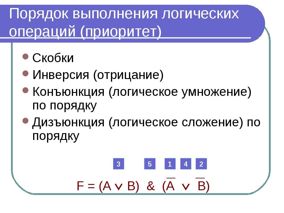 Порядок выполнения логических операций (приоритет) Скобки Инверсия (отрицание...