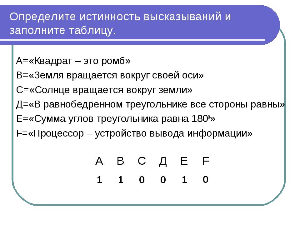 Определите истинность высказываний и заполните таблицу. А=«Квадрат – это ромб...