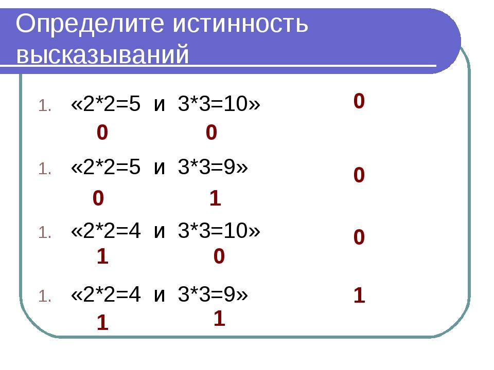 Определите истинность высказываний «2*2=5 и 3*3=10» «2*2=5 и 3*3=9» «2*2=4 и...
