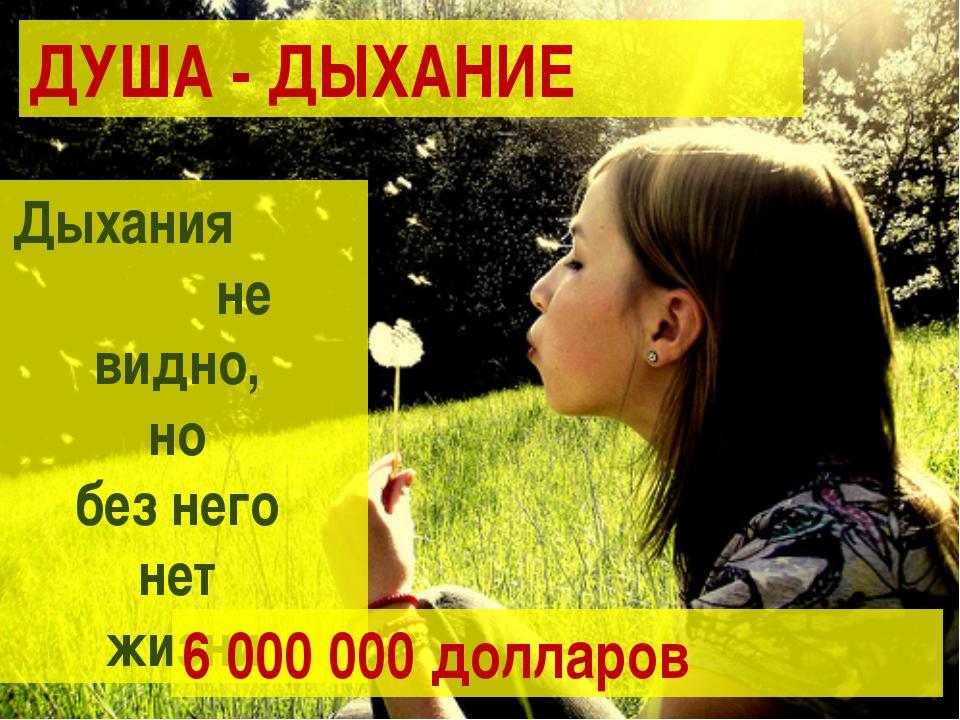 ДУША - ДЫХАНИЕ Дыхания не видно, но без него нет жизни 6 000 000 долларов