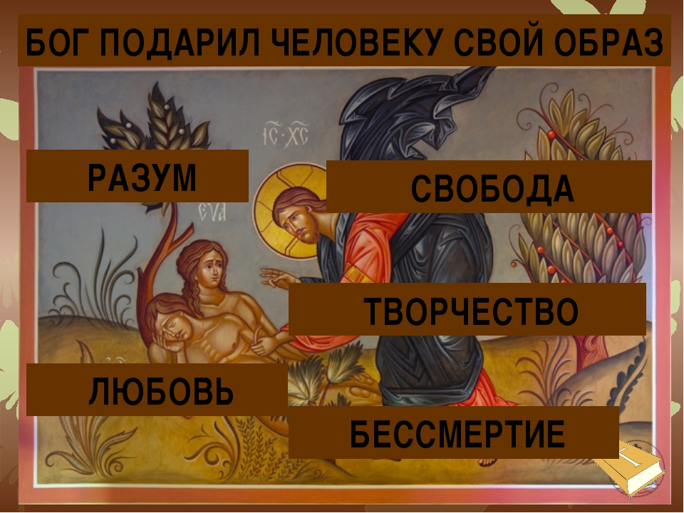 БОГ ПОДАРИЛ ЧЕЛОВЕКУ СВОЙ ОБРАЗ СВОБОДА ТВОРЧЕСТВО РАЗУМ ЛЮБОВЬ БЕССМЕРТИЕ